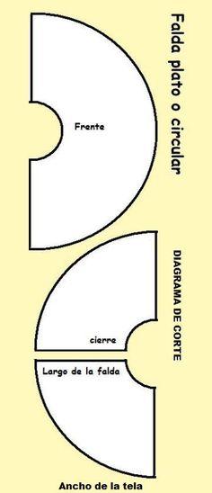Falda o pollera larga, tipo circular o plato