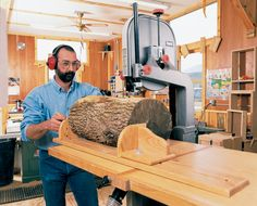 Bandsaw Resawing Cut logs into lumber, make thin boards from thick and cut your own veneer. By George Vondriska Perhaps you want to cut material down to in., or make veneer from that… Woodshop Tools, Used Woodworking Tools, Wood Tools, Woodworking Magazine, Woodworking Workshop, Woodworking Techniques, Popular Woodworking, Woodworking Plans, Woodworking Projects