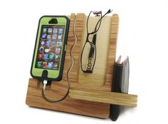 Furniture, Functional iphone wood docking station valet glasses smartphone wallet holder plywood material gadget acessories home office furniture natural finish unique charging cable cutout black green case: Cool Wood iPhone And Android Docking Station