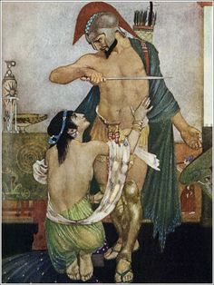"""William Russell Flint's The Odyssey of Homer, 1924. """"[...] I, drawing from beside my thigh the sharp sword, rushed forward against Circe as if I were raging to kill her, but she screamed aloud and ran under my guard, and clasping both knees in lamentation spoke to me [...]"""" (160)"""