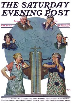"""""""The Party Line"""" Norman Rockwell, Saturday Evening Post Marsh 17,1928"""