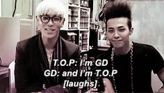 Gd and top. They're so cute (gif) dorks Big Bang Memes, Big Bang Kpop, Top Bigbang, Daesung, 2ne1, Btob, Ringa Linga, Lee Hi, Gd & Top