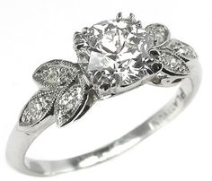 1920s 093ct old mine cut diamond platinum engagement ring - 1920s Wedding Rings