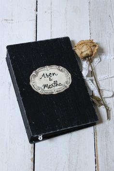 Black Wedding guest book,photo booth album,polaroid photo album,coptic bound custom made 9x6 inch