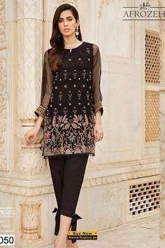 AFROZEH Chiffon Collection Replica 2020 Formal Pants Women, Pants For Women, Clothes For Women, Afro, Pakistani Dresses, Pakistani Suits, Indian Suits, Latest Dress Design, Kids Nightwear