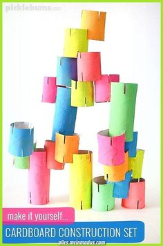Make your own cardboard tube construction toy! Make your own cardboard tube construction toy!,Kids Toys Make your own cardboard tube construction toy! Toddler Activities, Preschool Activities, Indoor Activities, Toddler Games, Elderly Activities, Dementia Activities, Weather Activities, Summer Activities, Physical Activities