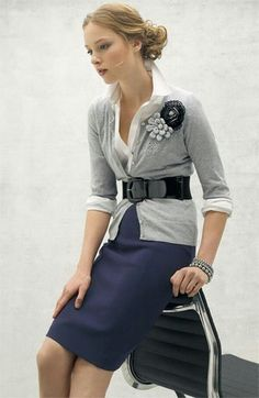 Working Outfits #Je Adore This: Navy Blue pencil skirt + White blouse+ Gray light sweater + Gray & Black flowers + Black belt. The shoes? Could be Navy blue, Gray or Black☆
