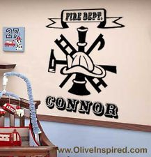 Fire DEPT Symbol Engine 27 Firefighter Firetruck Vinyl Wall Decal Art kids Room