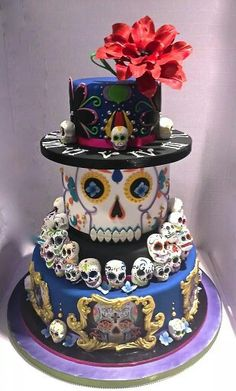 Amazing Halloween-inspired and Other Imaginative Cake Designs - Sugar Skull Cake Pretty Cakes, Cute Cakes, Beautiful Cakes, Amazing Cakes, Bolo Halloween, Halloween Torte, Crazy Cakes, Fancy Cakes, Pink Cakes