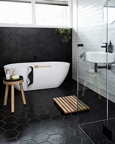Luxury Master Bathroom Ideas Decor is no question important for your home. Whether you pick the Small Bathroom Decorating Ideas or Luxury Bathroom Master Baths With Fireplace, you will make the best Luxury Master Bathroom Ideas for your own life. Hexagon Tile Bathroom, Black Hexagon Tile, Black Tiles, Bathroom Tile Designs, Bathroom Interior Design, Bathroom Ideas, Hexagon Tiles, Hex Tile, White Tiles