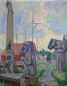 Masset, QCI (oil on canvas) Emily Carr Tom Thomson, Canadian Painters, Canadian Artists, Emily Carr Paintings, Vancouver Art Gallery, Aboriginal Culture, Impressionist Paintings, Nature Paintings, Native American Art