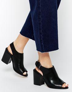 Image 1 ofASOS ELLERMAN Peep Toe Buckle Shoe Boots