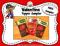 FREEBIE Valentine Topper sampler. Make nice treats for your choir or classroom student by using these fun toppers.