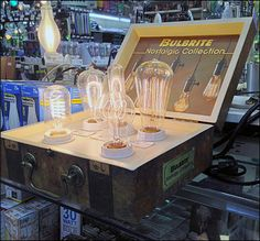 Bulbrite Vintage Valise Counter-top Point-of-Purchase Display Street Marketing, Guerilla Marketing, Exhibition Booth Design, Exhibition Stands, Exhibit Design, Print Advertising, Advertising Campaign, Print Ads, Electrical Shop