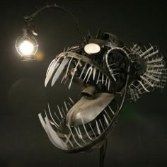 Justin LaDoux took recycled scrap metal, and hand crafted this amazing deep sea angler fish lamp.