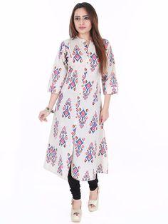 G3 Exclusive Khadi Cotton Casual Wear Blue Printed Kurti
