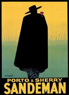 Porto & Sherry Sandeman 1931 ~ Fine-Art Print - Vintage Advertisements Art Prints and Posters - Vintage Advertisements Pictures Retro Poster, Poster S, Poster Prints, Vintage Advertising Posters, Vintage Advertisements, Vintage Posters, Vintage Wine, Vintage Ads, Vintage Food