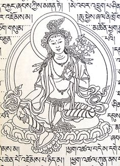 The three fires in the middle of the wheel are the three causes of a delightful line drawing of green tara by the master of tibetan arts sherab palden beru fandeluxe Images
