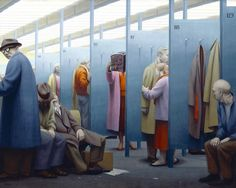 George Tooker, Waiting Room, 1957 Egg tempera on gesso panel, 24 x 30 in. theartblog.org
