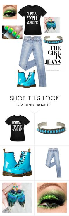 """Normal People Scare Me"" by bejeweledemporium on Polyvore featuring Dr. Martens, simple, Blue and grunge"