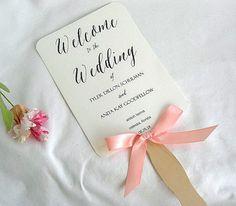 Wedding Fan Wedding Program Fans Coral Peach by AllThingsAngelas