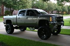 Lifted Silver GMC Sierra truck nice wheels See more about Trucks, Silver and Wheels. Lifted Chevy Trucks, Gm Trucks, Jeep Truck, Chevrolet Trucks, Diesel Trucks, Chevrolet Silverado, Cool Trucks, Silverado 1500, F150 Lifted