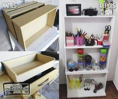 Shelves to cabinet Diy Arts And Crafts, Home Crafts, Diy Home Decor, Upcycled Furniture, Home Furniture, Diy Casa, Ideias Diy, Home Organization, Furniture Makeover