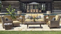 Lanai furniture idea from Frontgate.   Royan Sofa with Two Pillows and Cushions