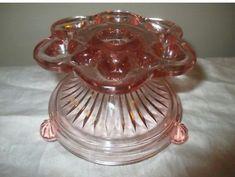 Vintage Pink Depression Glass Flower Frog and Candle Holder