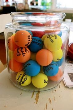 pick a ball with a question then use it in an activity