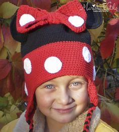crochet hat, детская вязанная шапка крючком, шапка мини маус