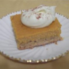 Pumpkin Cheesecake Bars Allrecipes.com (Substituted sugar free yellow cake mix for the pound cake, greek yogurt for butter and light cream cheese for the cream cheese)
