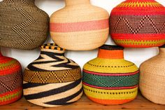 Amazing '10'Cows baskets. Hand woven in Bolgatanga, Ghana.  Colour, Texture, Curves they've got it all. Available in my online store now!