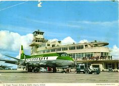Dublin Airport Terminal 1 (Original Building) - Collinstown, Ireland - Desmond FitzGerald / Office of Public Works (1940) - An Aer Lingus Vickers Viscount is parked on the apron in this postcard image from the 1960s. (Image: John Hinde)