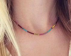 Extra fino collar Multicolor / / minimalista capas por Kurafuchi