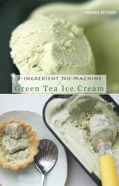 3-Ingredient Green Tea Ice Cream with No Machine (No-Churn). Ingredients: green tea powder (matcha), sweetened condensed milk, and heavy cream.