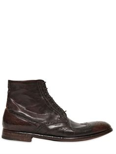 $1,090, Dark Brown Leather Brogue Boots: Alberto Fasciani English Brogue Hand Washed Leather Boots. Sold by LUISAVIAROMA. Click for more info: https://lookastic.com/men/shop_items/142634/redirect