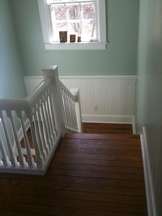 existing wall color - Behr contemplation.  Need to repaint the trim white.