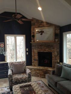After photo - Sherwin Williams Duration Matte, Naval #6244 on walls and Promar 400, #6238 Icicle on Ceiling
