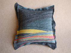 Felted Pillow Cushion Cover - Diagonal Stripes