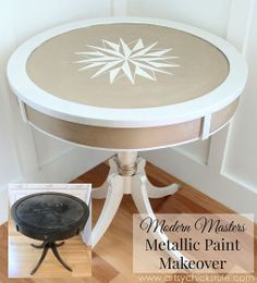 Modern Masters Metallic Paint Makeover {$3 Thrifty Table}