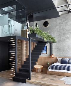 Awesome Loft Staircase Design Ideas You Have To See 02 A staircase is a vital part of a log home as it defines the beauty of the house. Loft Interior Design, Loft Design, Interior Architecture, Room Interior, Exterior Design, Design Bedroom, Apartment Interior, Design Design, Loft Staircase