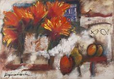 VIRGÍNIA DE PAULA Flores e Frutas – 90 x 130 cm OCSM – Ass. CIE e Dat. 2004