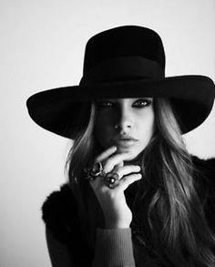Very sexy black hat! Love this.  www.ballabracelets.com #bracelet #hats #jewelry #fashion #accessory #trend