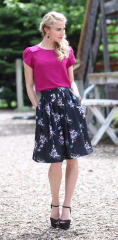 Full Floral Skirt- This fun and modest skirt has a beautiful floral pattern and gives a chic look to your wardrobe. With pockets and a gathered waist gives you a look that is both fun and professional