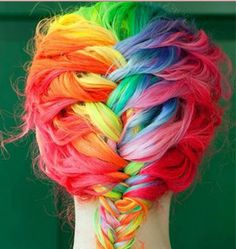 Rainbow Plait. I like the colours, but I think this looks like a clown wig's colour. ._. It's a bit too much.