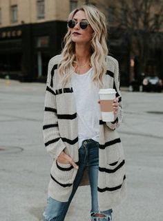 #BFCM #BlackFriday #CyberMonday #Oasap - #oasap Fashion Long Sleeve Stripe Open front Cardigan - AdoreWe.com