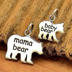 MAMA & BABY BEAR Charms Charm Solid 925 Sterling Silver Pendant Mom Mother's Day #Unbranded #Charm