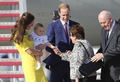 Her Royal Highness, Catherine Duchess of Cambridge, holding Prince George, with His Royal Highness Prince William, Duke of Cambridge, greet ...