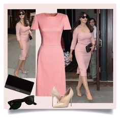 Pastel Pink Dress by danewhite on Polyvore featuring polyvore, fashion, style, Canvas by Lands' End, Massimo Matteo, Balmain, Ray-Ban and clothing